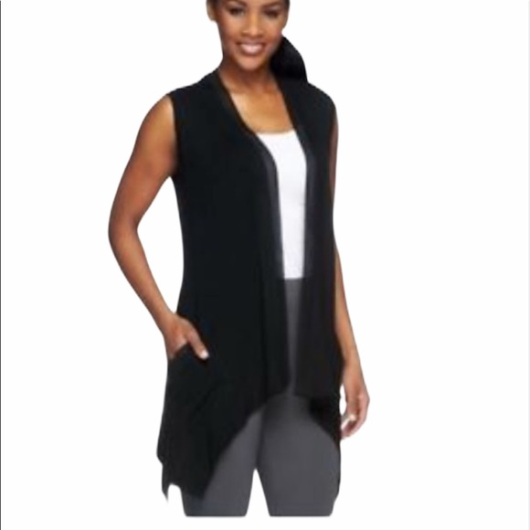 LOGO by Lori Goldstein Tops - LOGO Lori Goldstein  Black Sleeveless Cardigan